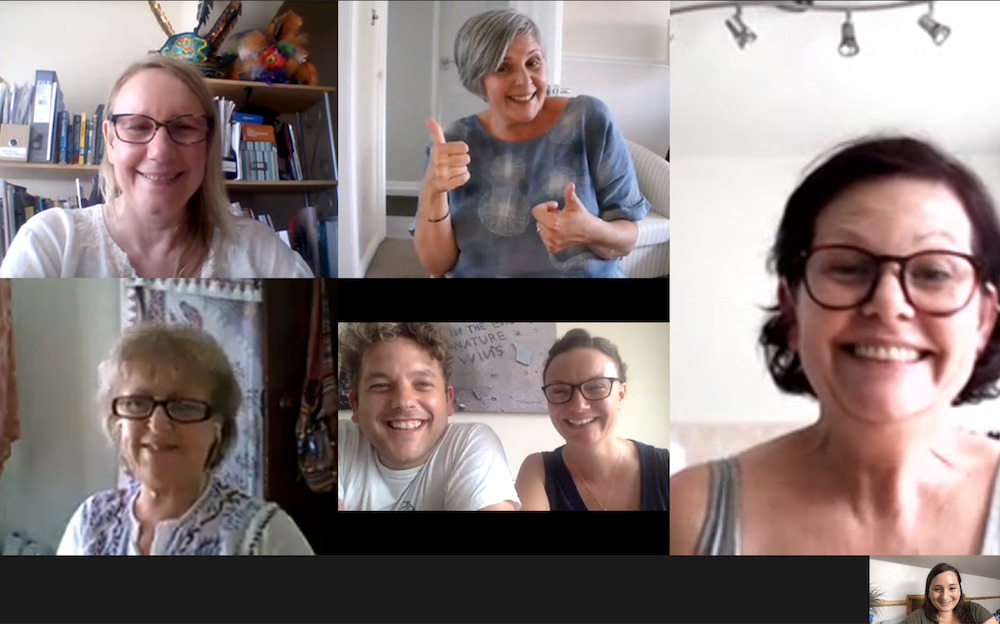 Screenshot of a Zoom meeting between seven smiling staff from NLA & We Are Epic