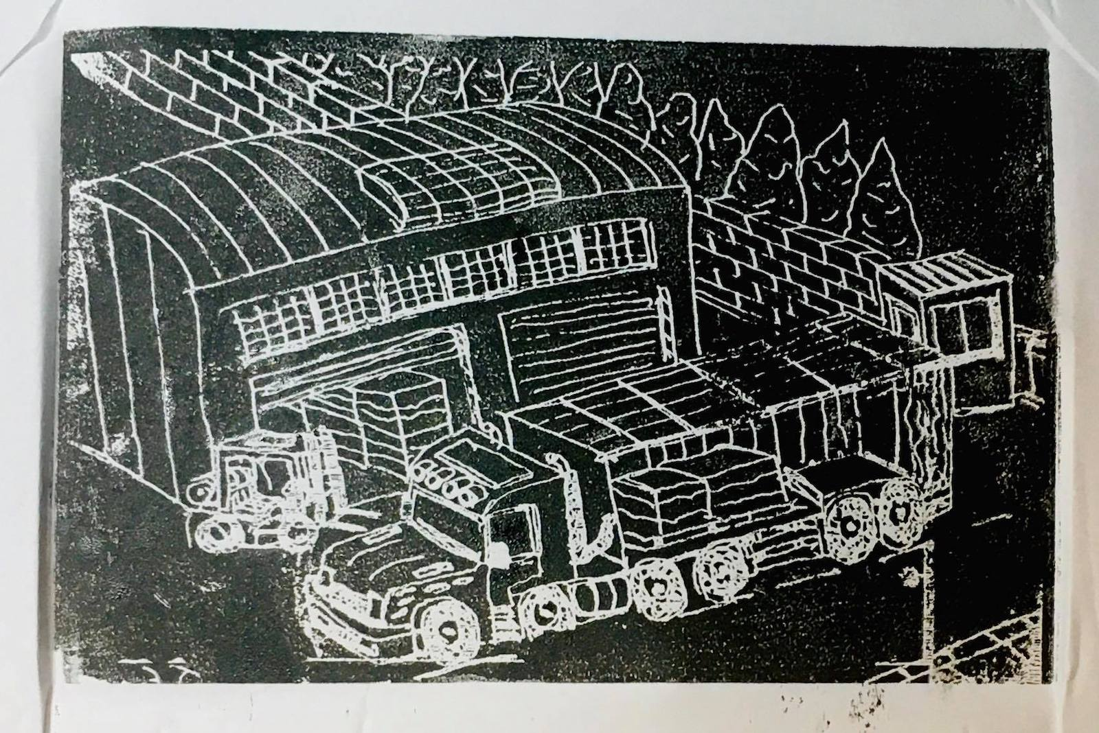 black and while lino cut of truck